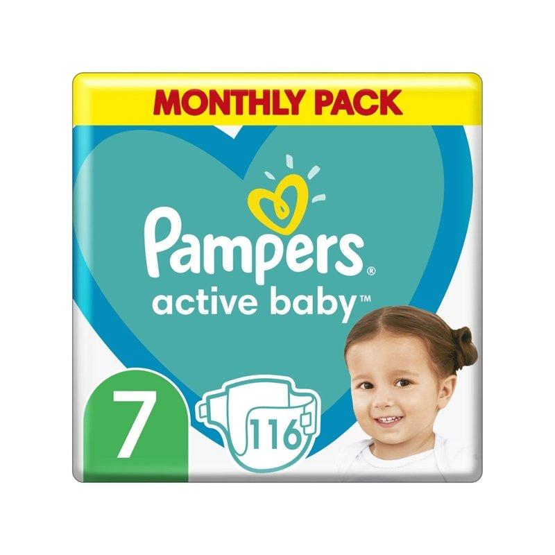 PAMPERS Active Baby 7 (15 kg+) 116 ks měsíční balení - jednorázové plienky