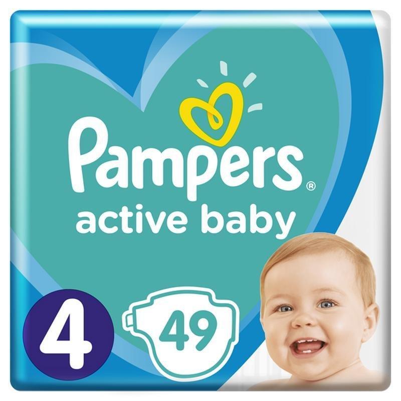 PAMPERS Active Baby jednorazové plienky veľ. 4, 49 ks, 9-14 kg