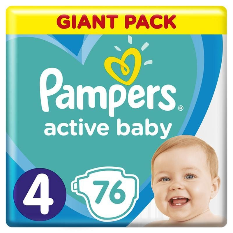 PAMPERS Active Baby jednorazové plienky veľ. 4, 76 ks, 9-14 kg