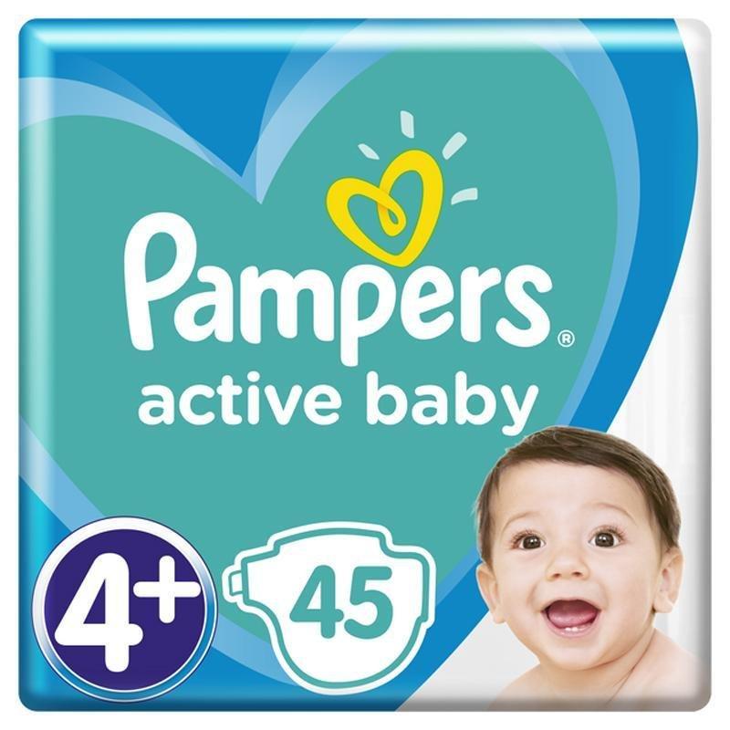 PAMPERS Active Baby jednorazové plienky veľ. 4+, 45 ks, 10-15 kg