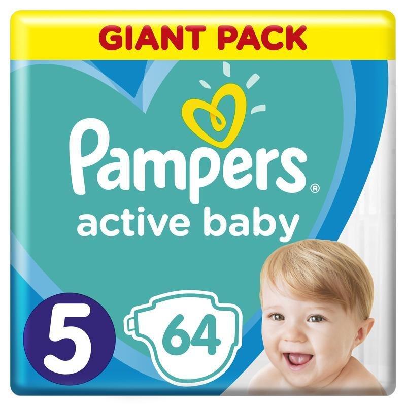 PAMPERS Active Baby jednorazové plienky veľ. 5, 64 ks, 11-16 kg