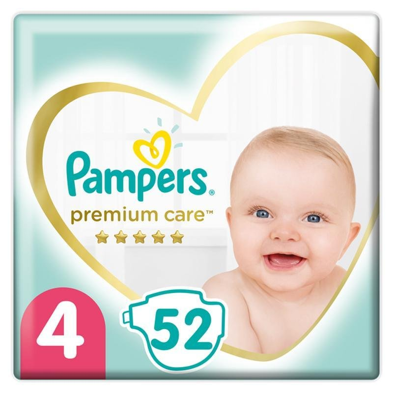 PAMPERS Premium Care jednorazové plienky veľ. 4, 52 ks