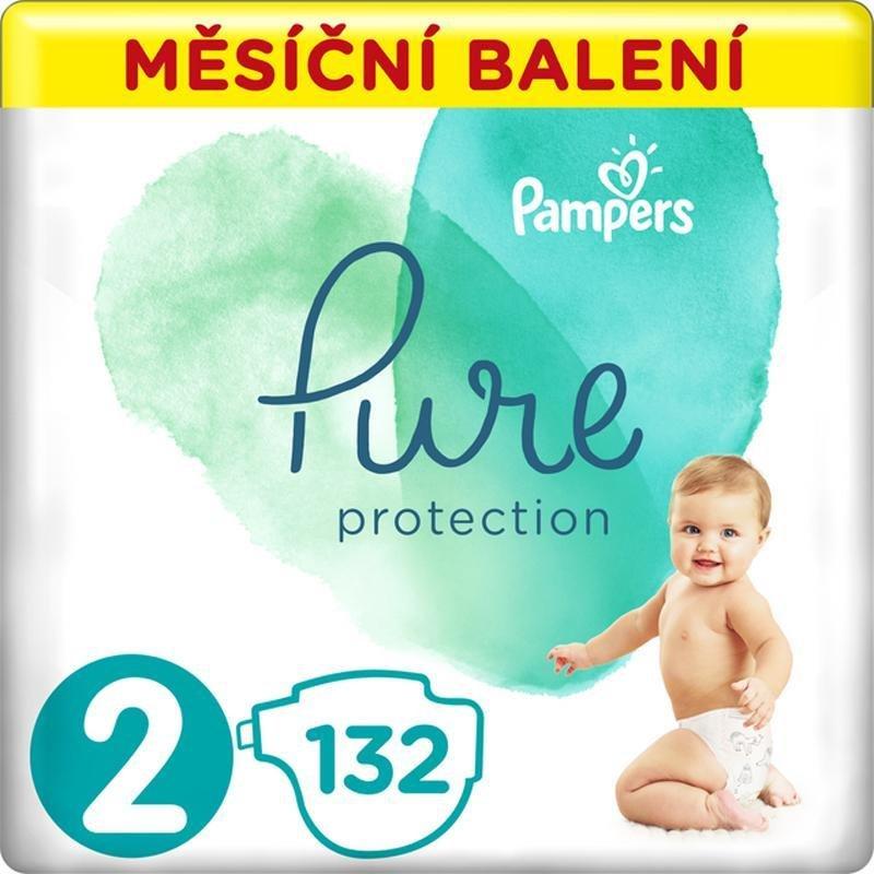 PAMPERS Pure Protection 2 (4-8 kg) 132 ks - jednorázové plienky