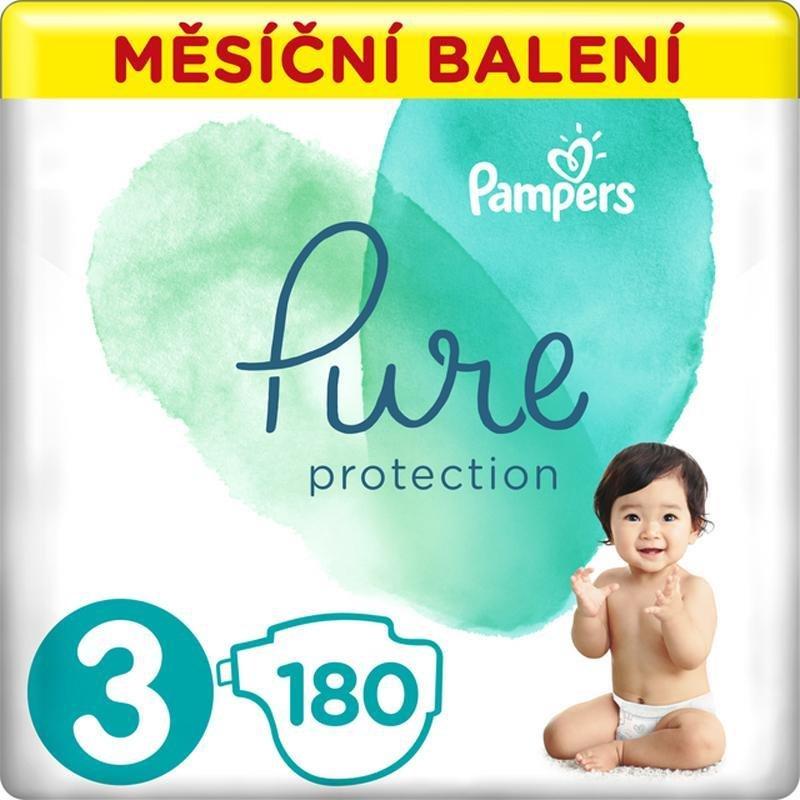 PAMPERS Pure Protection 3 (6-10 kg) 180 ks - jednorázové plienky