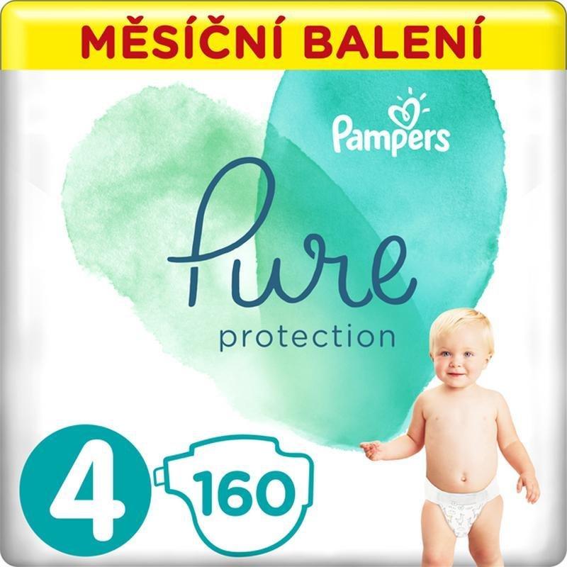 PAMPERS Pure Protection 4 (9-14 kg) 160 ks - jednorázové plienky