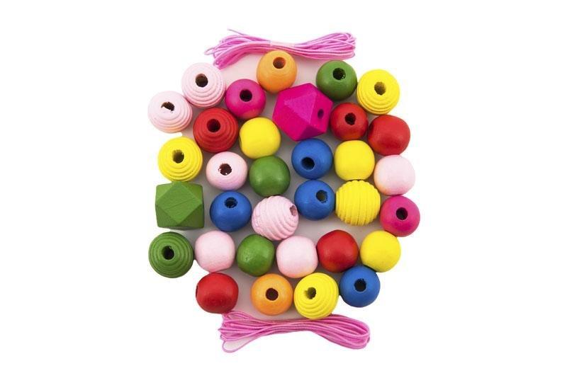 TEDDIES Korálky drevené farebné MAXI s gumičkami 54 ks v malej plastovej dóze