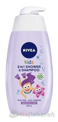 NIVEA Kids 2in1 Detský sprchový gél Girl - Nivea Kids Detský sprchový gél a šampón 2 v 1 vôňa lesného ovocia 500 ml