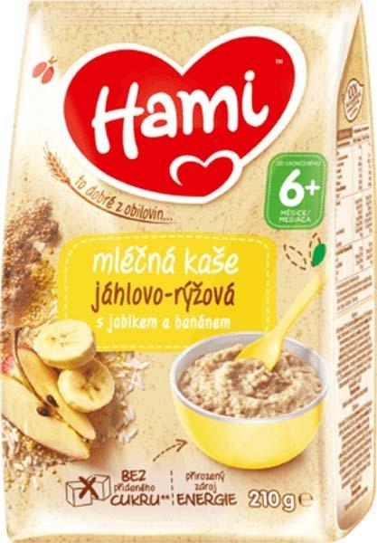 HAMI Mliečna kaša pšenovo-ryžová s jablkom a banánom 210 g, 6+