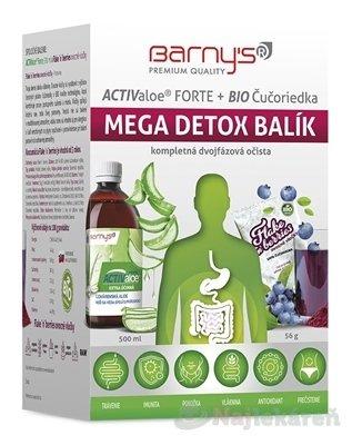 Barny's ACTIValoe Forte+BIO Čučoriedka MEGA DETOX - BARNY'S ActivValoe forte+BIO čučoriedka mega detox gél 500 ml + ovocné vločky, vrecúška 7x8 g