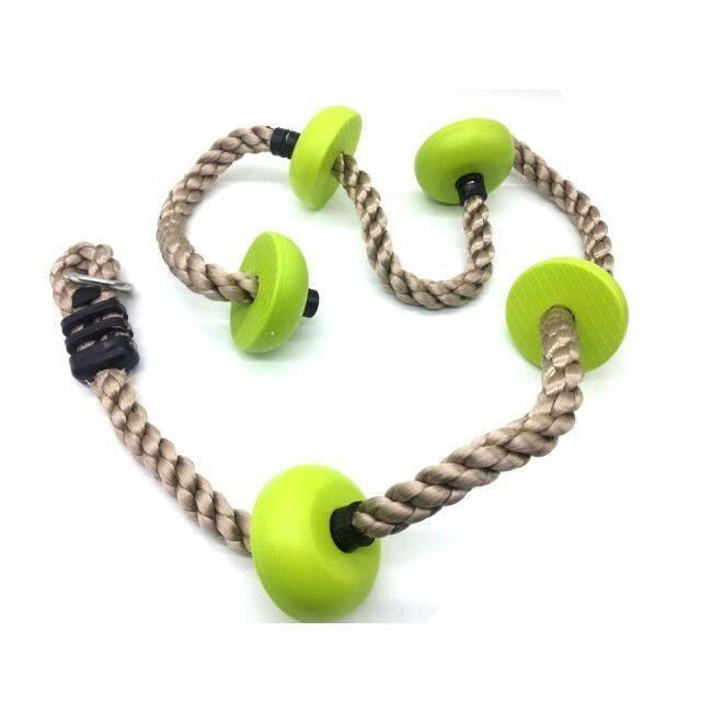 DVĚ DĚTI Detské šplhacie lano s diskami zelené - Dvěděti Dětské šplhací lano s disky zelené