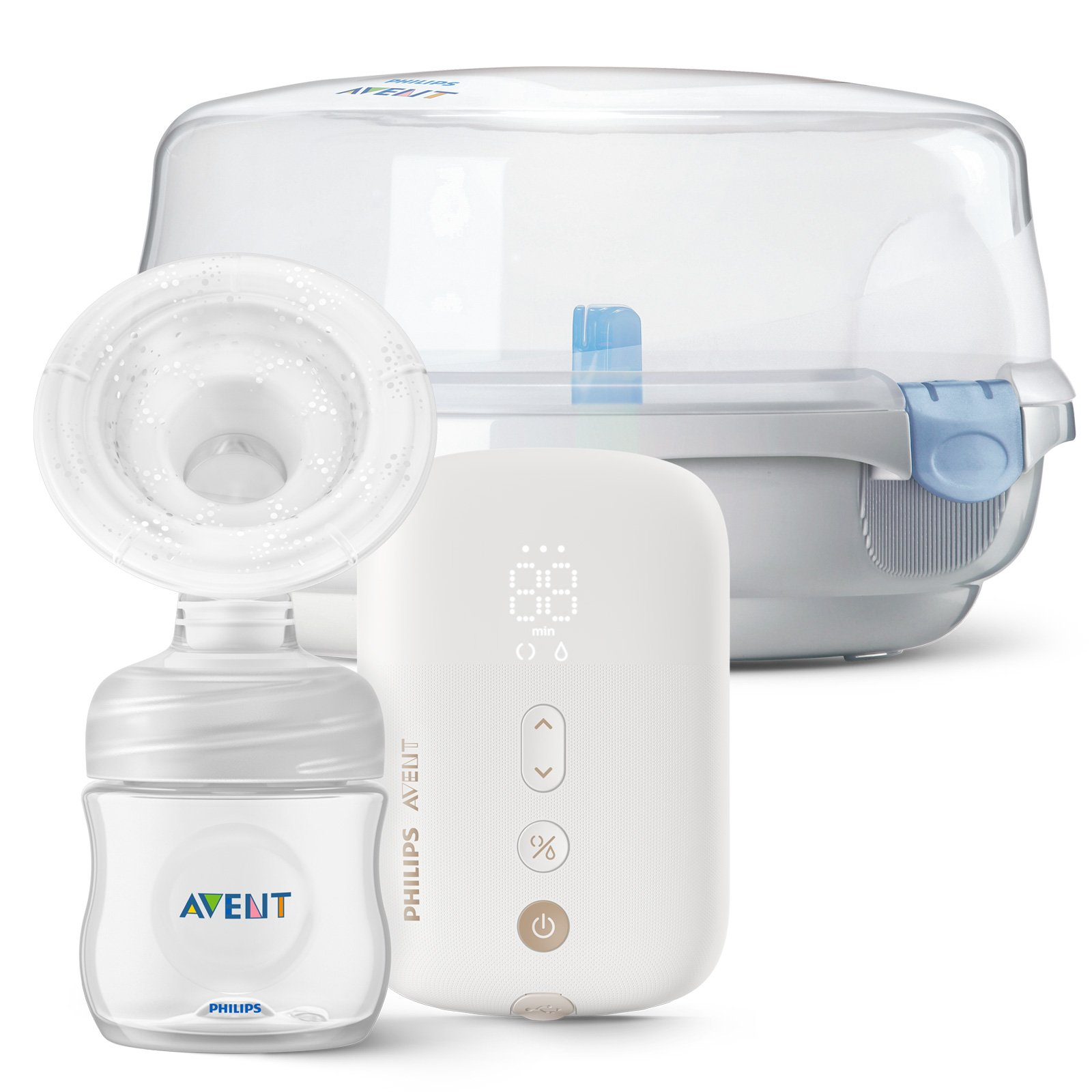 Philips AVENT Odsávačka materského mlieka elektronická Premium nabíjacia SCF396 + Sterilizátor do mi