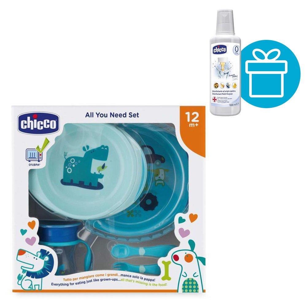 CHICCO Súprava jedálenská - taniere/príbor/pohárik, modrý 12m + CHICCO Roztok dezinf. viacúčelový 1l