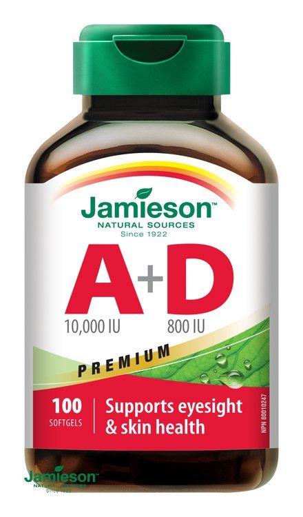 Jamieson Vitamín A a D Premium 10000 IU/ 800 IU 100 cps.