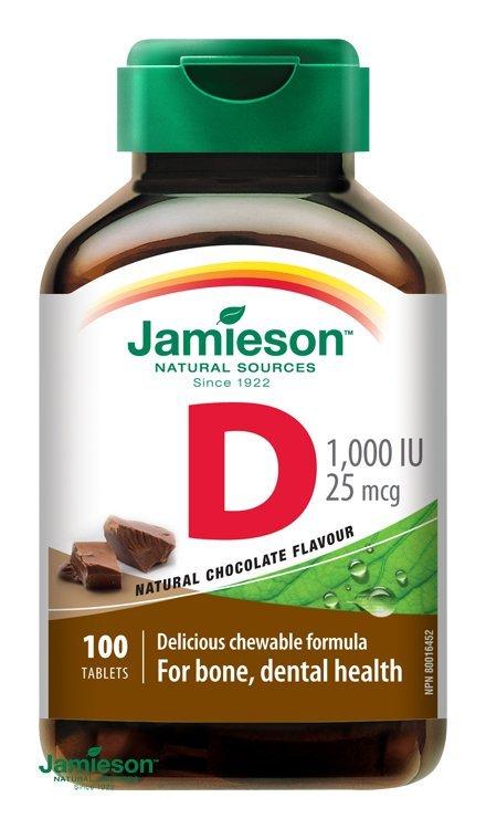 Jamieson Vitamín D3 1000 IU tablety na cmúľanie s príchuťou čokolády 100 tbl