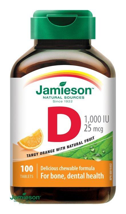 Jamieson Vitamín D3 1000 IU tablety na cmúľanie s príchuťou pomaranča 100 tbl.